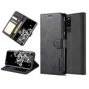 Samsung Galaxy S20 Ultra Black Wallet Leather Case