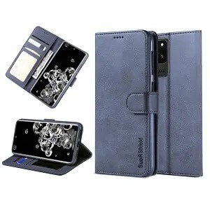 Samsung Galaxy S20 Ultra Navy Blue Wallet Leather Case