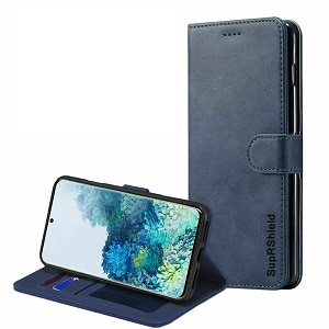 Samsung Galaxy S20 Navy Blue Wallet Leather Case